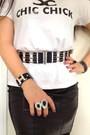 Black-boots-black-bag-white-t-shirt-silver-earrings-black-zara-skirt
