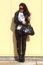 Black-boots-black-bag-white-t-shirt-silver-earrings