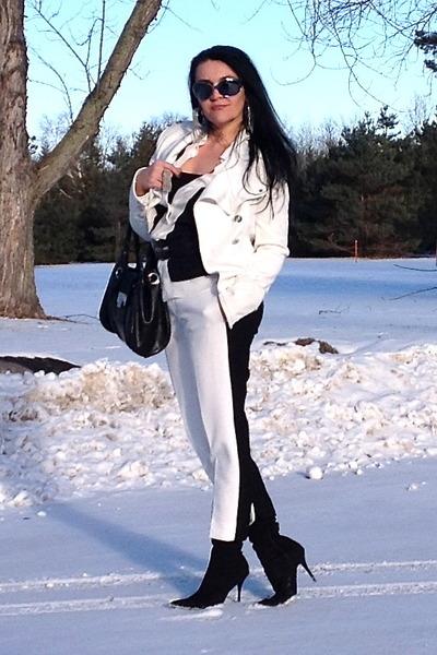white Zara shirt - black boots - black bag - silver earrings - silver ring