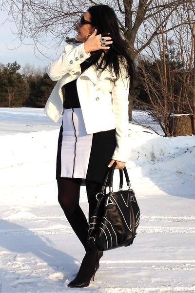 black bag - black pumps - white Zara skirt