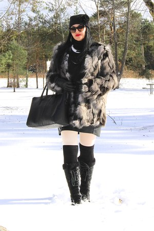 black LABELSHOEScom boots - black Forever 21 bag - black Zara skirt