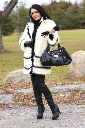 black LABELSHOEScom boots - ivory H&M coat - black Jimmy Choo bag