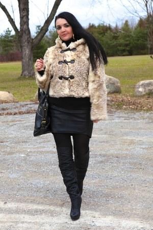 black LABELSHOEScom boots - black LABELSHOEScom bag - black Zara skirt