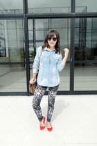 light blue jeans luigi bertolli blouse - light brown leather Zara bag