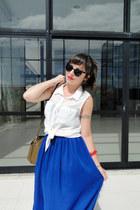 blue chiffon American Apparel skirt - light brown leather Zara bag