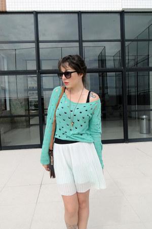 turquoise blue Me Move cardigan - light blue Zara skirt