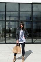 black Zara jacket - tan Dumond bag