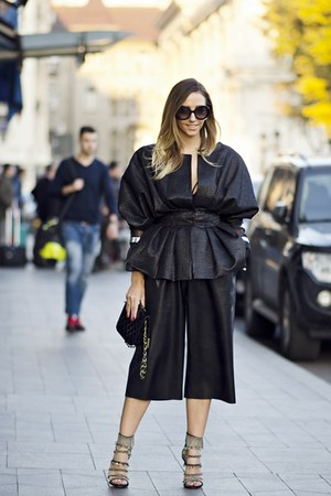 black LOULOU jacket - black Prada sunglasses - black shein pants