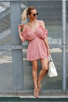 light pink Zara sandals - off white Dasha bag - light pink Choies jumper