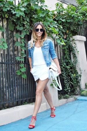 white Zara shorts - light blue jacket - black Freyrs sunglasses