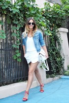 white Zara shorts - light blue jacket - black Freyrs sunglasses