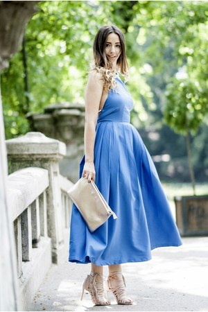 blue shein dress - light pink Jessica Buurman sandals