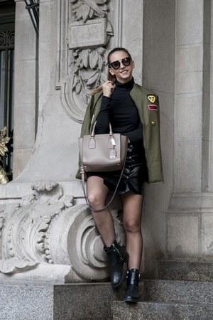 black DKNY boots - army green Choies jacket - brown Michael Kors bag