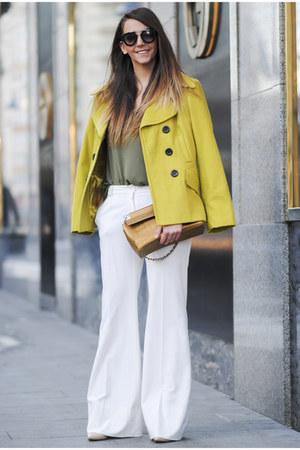 mustard Voglia coat - army green Voglia shirt - mustard Moschino bag