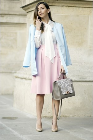 light blue romwe coat - silver Shopbop bag - light pink Choies skirt