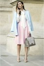 Light-blue-romwe-coat-silver-shopbop-bag-light-pink-choies-skirt