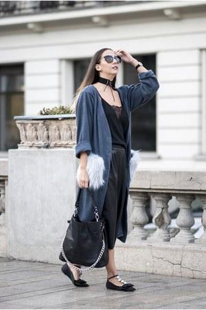 black Prada sunglasses - teal Atelier Lauryn cardigan - black Choies necklace