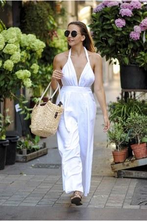 neutral Shopbop bag - black wonderland sunglasses - white Choies jumper