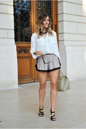 white H&M shirt - light brown bag - light brown Sheinside shorts