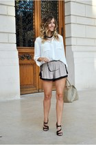 white H&M shirt - light brown bag - light brown Sheinside shorts