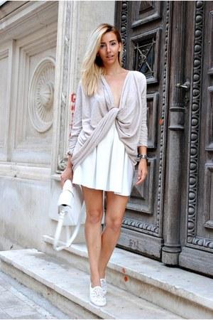 beige Manuella L cardigan - white Manuella L skirt