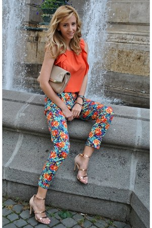 peach Zara bag - carrot orange Decadance blouse - peach Zara sandals