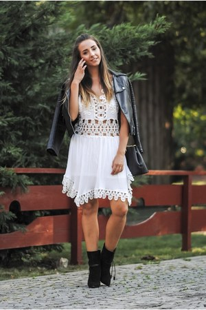black Shopbop boots - white shein dress - black DKNY bag