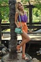 aquamarine OASAP bag - carrot orange H&M shorts - deep purple Zara blouse