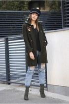 sky blue Shopbop jeans - army green Choies boots - dark green Choies coat