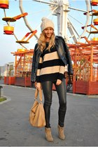 light brown Sheinside sweater - camel Zara hat - black Bershka pants