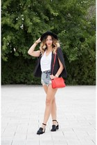 black Jessica Buurman shoes - sky blue shein jeans - red Michael Kors bag