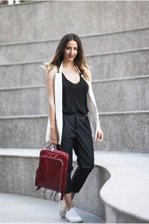 white Choies sneakers - black Choies pants - white shein vest