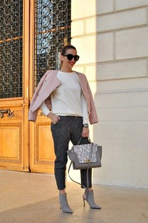 light pink Sheinside jacket - white Choies sweater