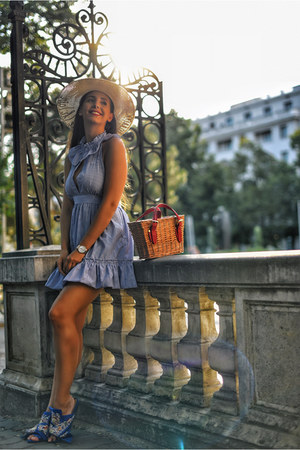 blue Jessica Buurman shoes - blue zaful dress - beige Shopbop hat