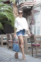 sky blue romwe shorts - white shein top