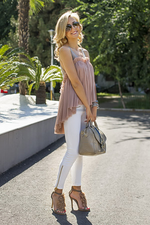 light pink OASAP blouse - white Zara jeans