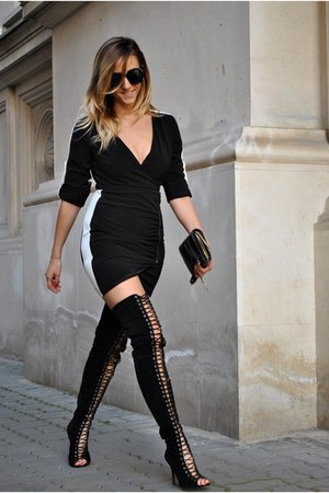 black Jessica Buurman boots - black Sheinside dress