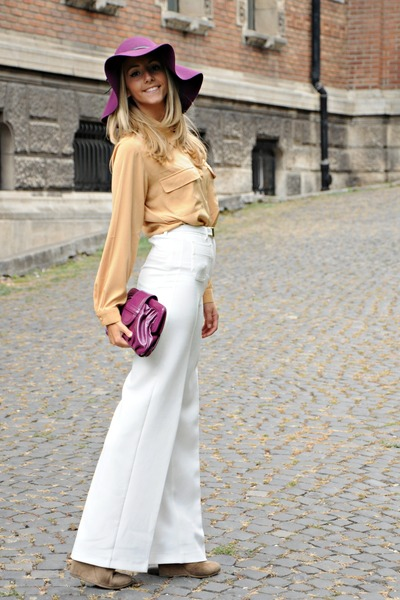 magenta H&M hat - mustard un deux trois blouse