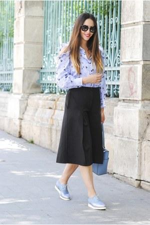 black Prada sunglasses - light blue VIPme shirt - black Shopbop pants