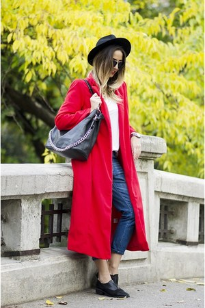 red romwe coat - navy Shopbop jeans