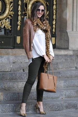brown Guess jacket - burnt orange Michael Kors bag - black Miu Miu sunglasses