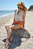 orange H&M shorts - eggshell H&M blouse