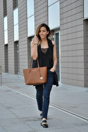black Choies shoes - brown Michael Kors bag - navy Only pants