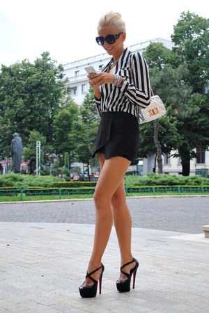 black PERSUNMALL shorts - ivory PERSUNMALL blouse - black In Vogue heels