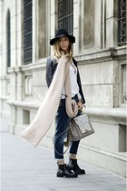 white romwe blouse - black Tamaris boots - off white Shopbop bag