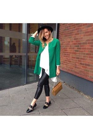green Shopbop jacket - mustard Moschino bag - black Choies flats