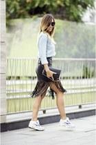 black Choies skirt - sky blue denim shirt shirt - black Shades sunglasses