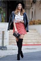 black Jessica Buurman boots - black rag & bone hat - black shein jacket
