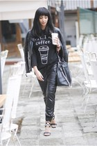 black shein jacket - black ami clubwear sandals - black romwe t-shirt