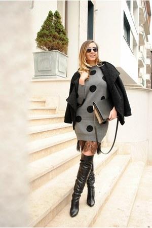 black Inia Lavin boots - charcoal gray romwe dress